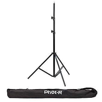 Phot-r 2.4m air cushion studio light stand +carry bag - adjustable 3-section heavy duty aluminium tr