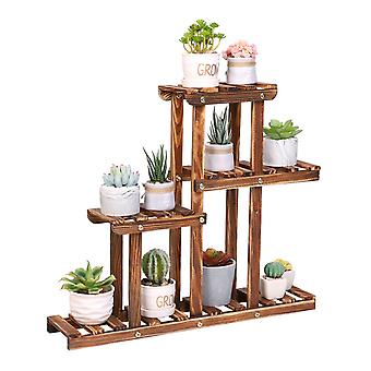 4 Tiers Small Wood Succulent Pots Garden Plant Stand Display Rack Holder