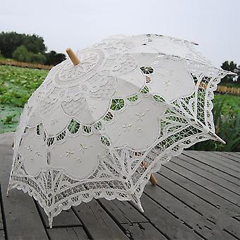 Fashion Sun Umbrella Cotton Embroidery Bridal Ivory Lace Parasol Wedding