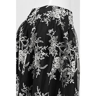Saia de malha padrão floral mid rise cintura