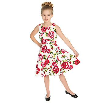 Hearts & Roses Girls 50's style Sweet Rose Swing Dress