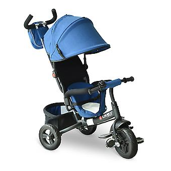 HOMCOM 3 in 1 Baby Tricycle Toddler Stroller Kids Pedal Tricycle w/ Pusher Removable Canopy Safety Belt Storage Footrest for 18 Months to 5 Years Blue