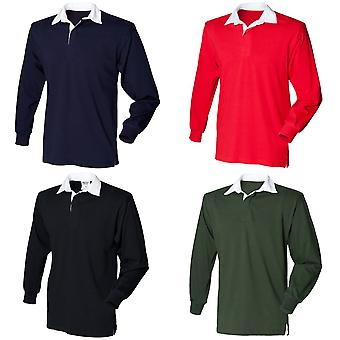 Front Row Kids Unisex Long Sleeve Plain Rugby Sports Polo Shirt