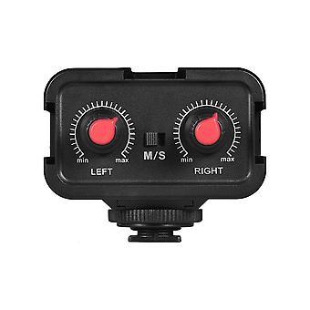 Andoer dubbelkanalsmikrofon ljudmixer adapter & kall sko montering nav 3,5 mm stereo utgång comp