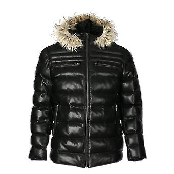 Mens jeremiah puffer leather jacket with fur hoodie (black)