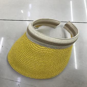 Lady Empty Top Sun Visor Hat, Summer Straw Wide Brim Sun Cap