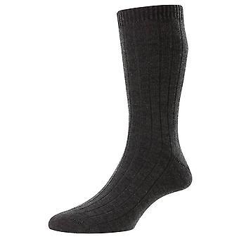 Pantherella Packington Merino Wool Socks - Mistura cinza escuro