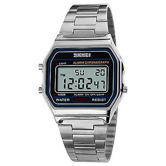 Skmei Mens Boys Classic Clear Digital Watch Retro Alarm Metal Strap Date Stopwatch