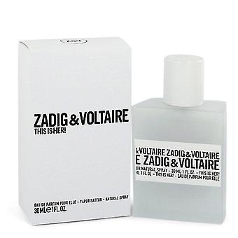 This is her eau de parfum spray by zadig & voltaire 548567 30 ml