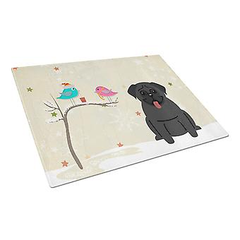 Caroline's Treasures Bb2478Lcb Regali di Natale tra amici Pug Tagliere in vetro nero, grande, multicolore