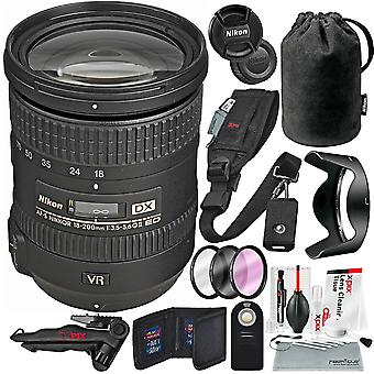Nikon af-s dx nikkor 18-200mm f/3.5-5.6g ed vr ii lins och deluxe bunt w/ xpix rengöringskit, 2in1 stativ, kamerarem + filtersats + mer