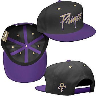 Prince Baseball Cap Gold Logo & Symbol new Official Black & Purple Unisex