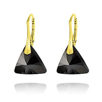 24K gold jet triangle earrings