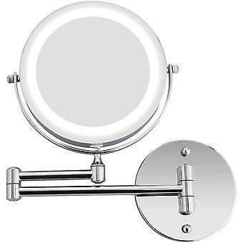 BATHWA Wandmontage Zweiseitig Beleuchteter Kosmetikspiegel, 360 Horizontal Schwenkbar und Vertikal,