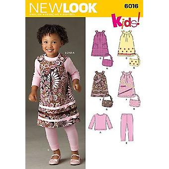 New Look Sewing Pattern 6016 Toddlers Girls Dress Pants Bag Size A (1/2-1-2-3-4)