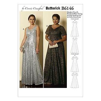 Butterick ompelu kuvio 6146 MissEs Naisten Lattian pituus Fit Mekko XS-XL UC