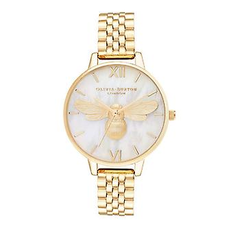 Olivia Burton Ob16fb18 Mother Of Pearl Demi Dial Gold Bracelet Watch