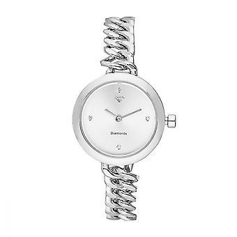 Kate Reloj de mujer Diamantes 0.012 quilates - blanco dial pulsera de metal plateado