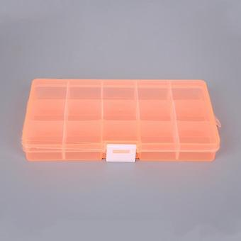 15 Slot Plastic Adjustable Transparent Jewelry Ring Earrings Box Case