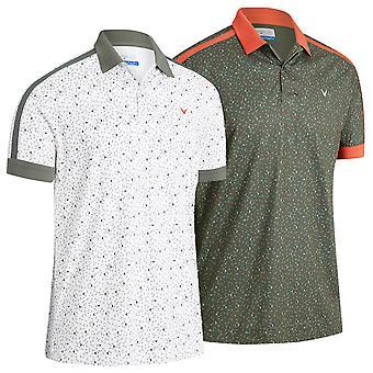 Callaway Golf Mens 2021 All Over Geo Print Wicking Golf Polo Shirt