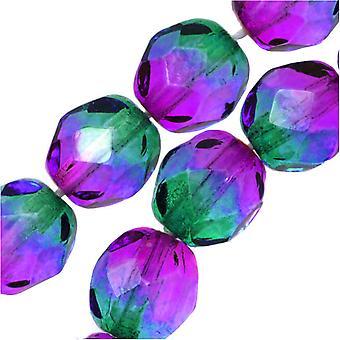 """צ'כיה אש מלוטשת זכוכית שני חרוזים שרירי 8 מ""""מ עגול סגול ירוק (25)"""