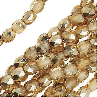 Tšekin tuli kiillotettu lasi läjät 3mm pyöreä kristalli kultaa (50)