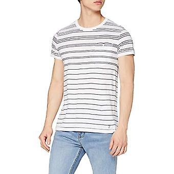 French Connection Summer Graded Stripe Crew Neck T-Shirt, White (White/Marine Blue 10), XL Men's