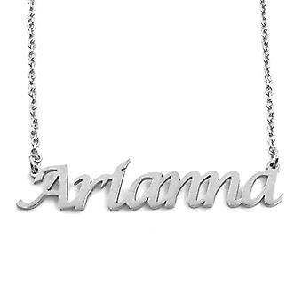 """L Arianna - Adjustable necklace with custom name, silver tone, 16""""- 19"""