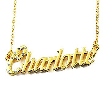 """L Charlotte - 18-carat Gold Plated Necklace, with Customizable Name, Adjustable Chain of 16""""- 19"""", in Regal Packaging"""