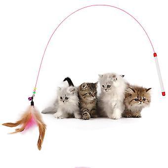 Hete 10 stuks huisdier kat speelgoed schattig ontwerp staal draad veer teaser wand plastic speelgoed (willekeurige kleur)