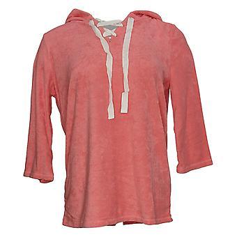 أي شخص المرأة تيري القماش الدانتيل متابعة هوديي الوردي A354748