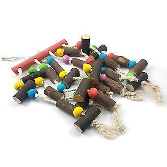 New Large String Of Wood Bite Toys Cotton Rope Bite String Logs Hanging String Parrot Toy ES2186