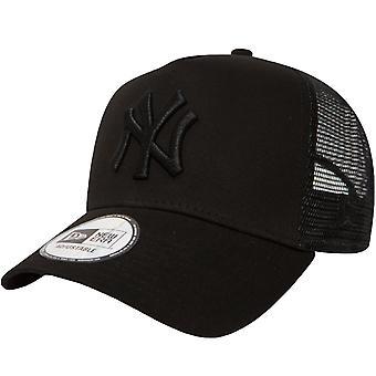 New Era Youths New York Yankees A-Frame Tracker Cap - All Black - 6-12 Yrs