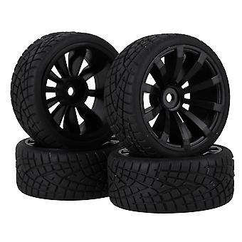 For 4Black Plastic 10 Spoke Wheel Rim & 4 Fish Pattern Rubber Tyre for On Road Car WS5010