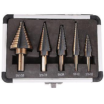 5pcs Hss Cobalt Multiple Hole 50 Sizes Step Drill Bit Set Tools W/ Aluminum Case
