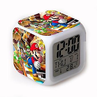 Wecker Super Mario Led glühend Digital 7 Farbe Ändern Schreibtisch Uhr