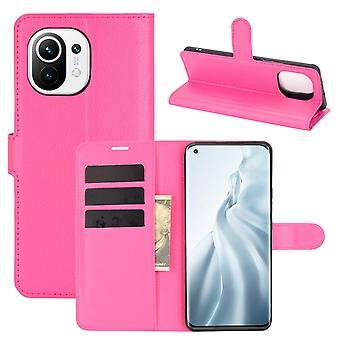 Case For Xiaomi Mi 11 Litchi Card Case Wallet With Handy Stand Feature Rose