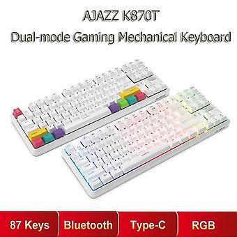 Qwert 87 Tangenter RGB Mekaniskt tangentbord Trådlös bluetooth + Typ C Mekanisk switch Spel med dubbla lägen