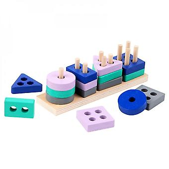 Mini Wooden Montessori Toy Building Blocks Early Learning Educational Toys Color Shape Match Cognition Kids Toy For Boys Girls