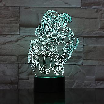 Predator 3d Led Night Light Kids Soveværelse Bordlampe