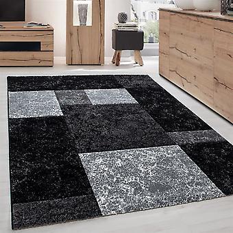 Designer Teppich Modern Kariert Muster Meliert Konturenschnitt Schwarz Grau Weiß