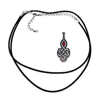 Pewter Celtic Knotwork Pendant W/ Ruby Red Rhinestone