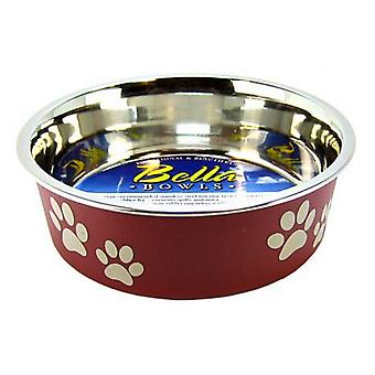 """Loving Pets Stainless Steel & Merlot Dish with Rubber Base - Small - 5.5"""" Diameter"""