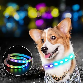 Led Dog Collar Usb Rechargeable Lighted Collar Band Color Changeable Pet Collars