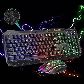 Computer Gaming Working Keyboard and Mouse Set Wired Rainbow LED Backlight