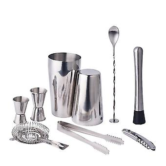 Qian Stainless Steel Boston Cocktail Shaker Set Bartender Kit 9 Piece For Home Or Parties
