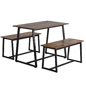 4-seater Wooden Dining Set, 1 Table With 2 Benches