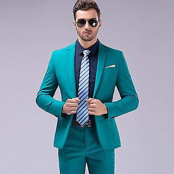 Homme Solide One Button Single Breasted Slim Fit Suit
