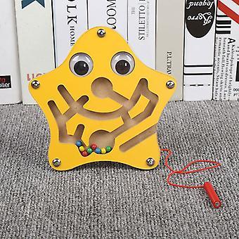 Brinquedos infantis Jogo de quebra-cabeça de labirinto de caneta magnética de madeira para estimular o cérebro-(estrelas)
