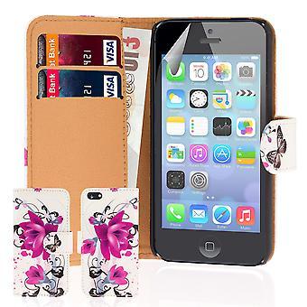 Progettare il libro PU pelle Custodia cover per Apple iPhone 5C - rosa viola